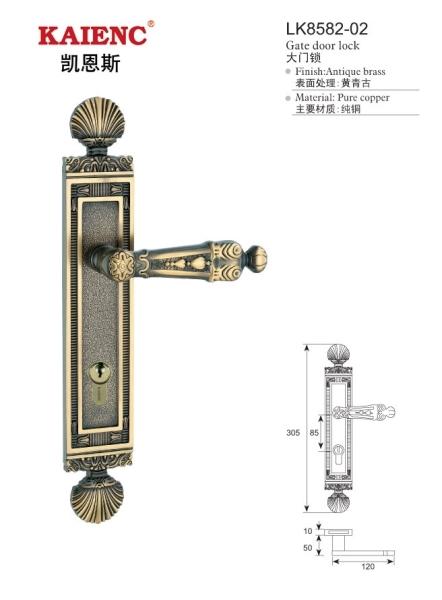 纯铜黄金入户门锁 酒店豪华门锁 欧式经典酒店门锁 纯铜门锁